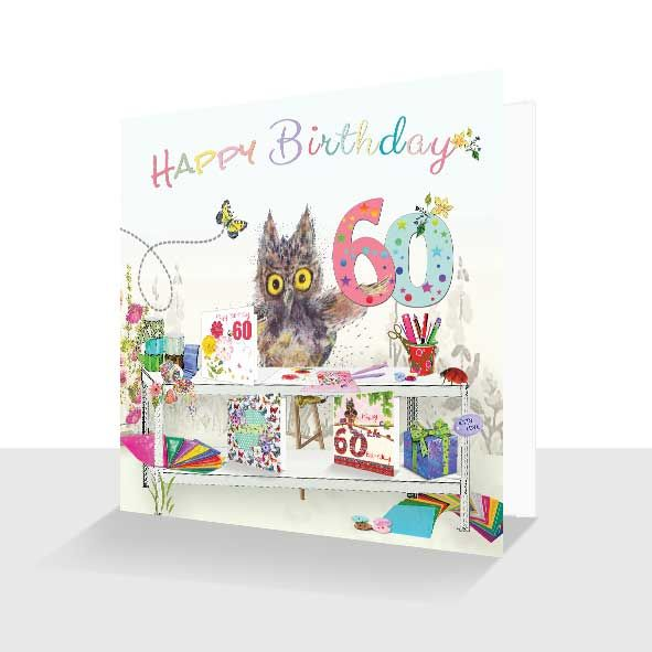 60th Birthday Card : Oakley Owl Crafting, Unique Greeting Cards Online, Buy Luxury Handmade Cards, Unusual Cute Birthday Cards and Quality Christmas Cards
