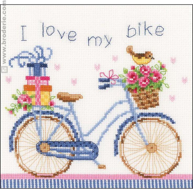 Broderie Point de Croix J adore mon vélo Vervaco VE.0021778 - La Maison du Canevas et de la Broderie