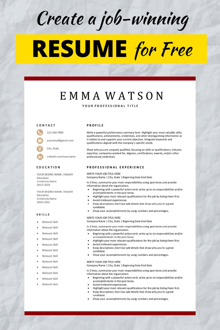 Editable Resume Template Download for Free in 2020