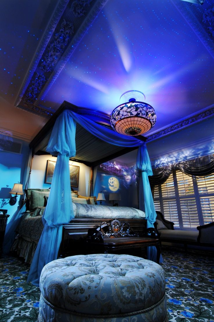Fantasy bedroom in blue with bohemian touches.
