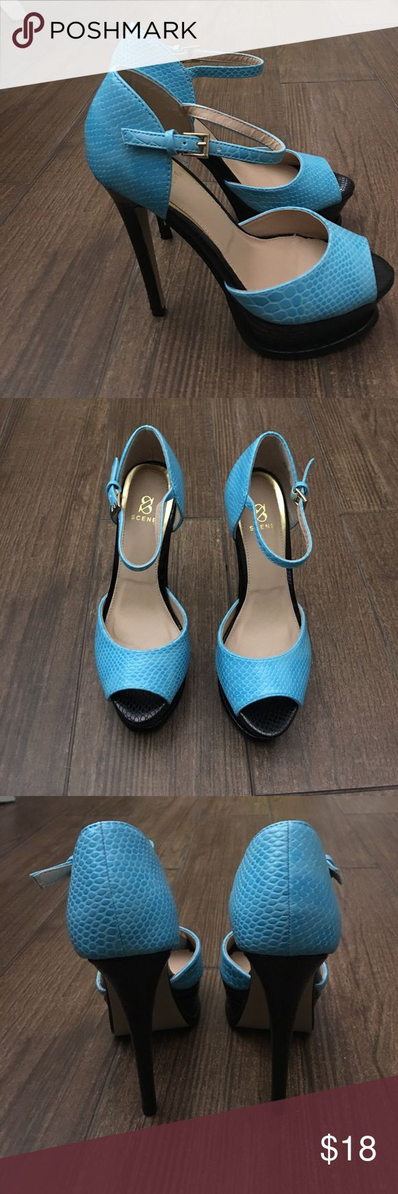 """🆕Listing Shoe Dazzle blue and black peep toe 6.5 Scene for ShoeDazzle heels. Peep toe style with one strap. Black platform and heel and bright blue top. Worn twice. Size 6.5 heel is 5 1/2"""" and platform is about 2"""" Shoe Dazzle Shoes Platforms"""