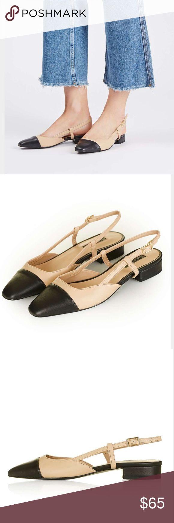 NWT Topshop slingback flats sz 7.5 Light tan and black flats. Tagged euro sz 38/US sz 7.5. Never worn. Topshop Shoes