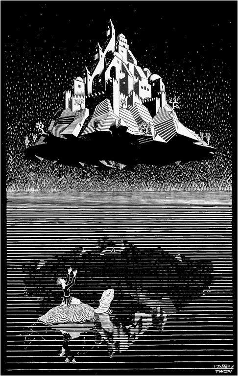 Trees and Animals, 1953 by M.C. Escher. Op Art. tessellation Ciudadela de Calvi Cerdeña