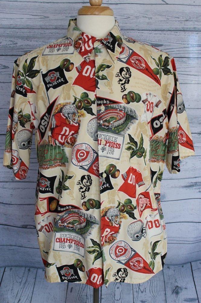 Reyn Spooner Ohio State University Buckeyes OSU Hawaiian Camp Shirt XL Football #ReySpooner #Hawaiian #OhioStateBuckeyes