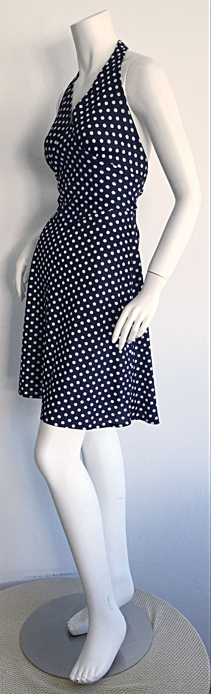 Vintage Joy Stevens Navy Blue + White Polka Dot Nautical Tie - Back Dress | From a collection of rare vintage evening dresses at https://www.1stdibs.com/fashion/clothing/evening-dresses/
