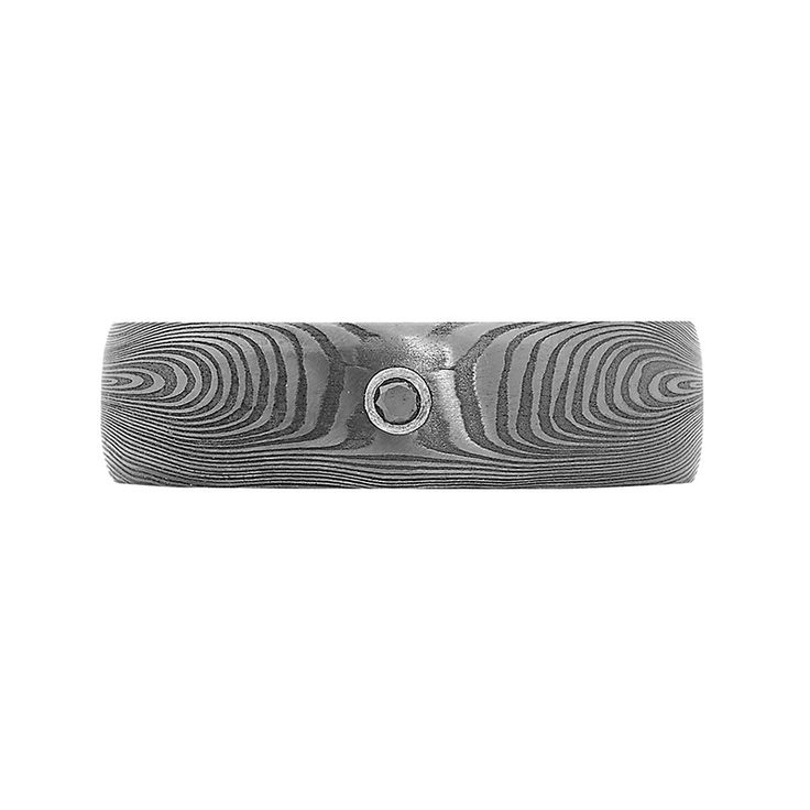Damascus Steel Collection // Rohan Jewellery // A fingerprint Damascus steel and black diamond ring with sterling silver sleeve.
