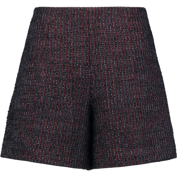 Carven Bouclé-tweed shorts (1 540 SEK) ❤ liked on Polyvore featuring shorts, burgundy, tweed shorts, multi colored shorts, burgundy high waisted shorts, high waisted shorts and relaxed shorts