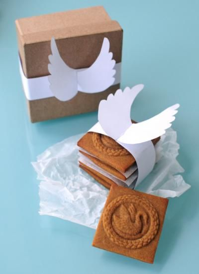 """""""A gorgeous angel wings template to download to compliment your Christmas cookies or biscuits packaging. Gingerbread recipe included to make the perfect cookie""""."""