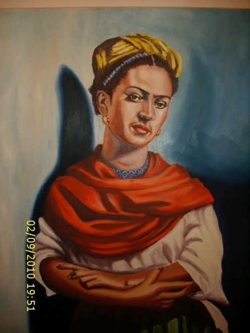 The great artist Frida Kahlo, in oil painting.
