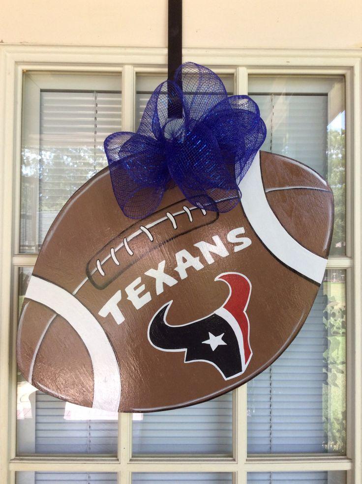 Front door decor, Football Door Hanging, Texans door hanger, front door decor, Wreath, door hanger, sport door hanger, football party by samthecrafter on Etsy