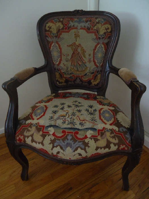 Antique French Needlepoint Chair