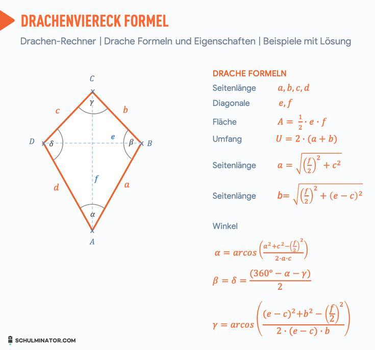 drachenviereck formel berechnen umfang fl che diagonale. Black Bedroom Furniture Sets. Home Design Ideas