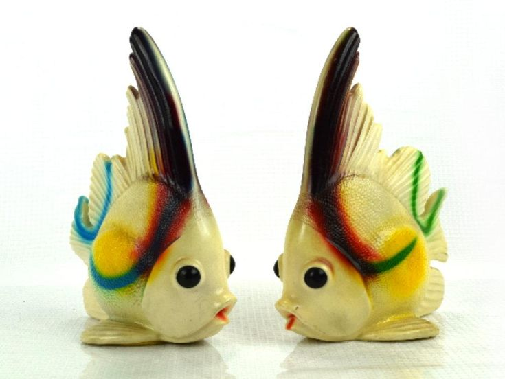Vintage Kitschy Fish Figurines Funky Bathroom Decor Set of 2