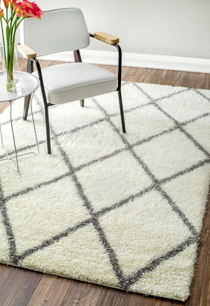 Moroccan Diamond Shag Grey Rug | Contemporary Rugs #RugsUSA