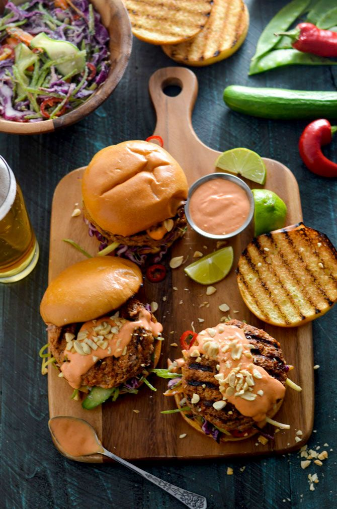 Thai Curry Turkey Burgers with Spicy Mayo and Coconut-Lime Slaw. Give up bland…