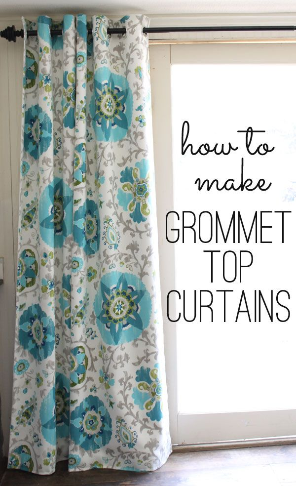 how to make grommet top curtains (Fabric is by P. Kaufman avail at OnlineFabricStore.net) Great work @Gina @ Shabby Creek Cottage!