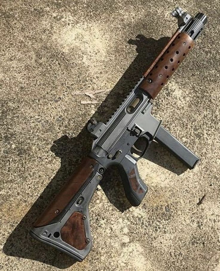 AR15 - Rechambered in 9MM, Grey Polymer Finish with Tactical Wood Furniture, Raised Iron Sights