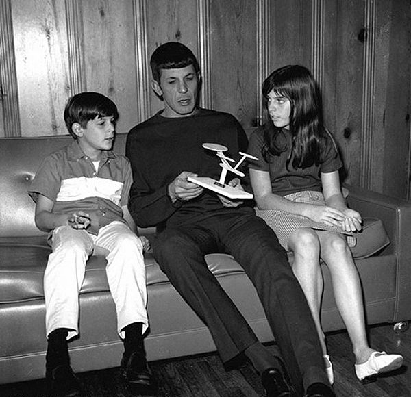 Leonard Nimoy and his kids while he was still playing Spock on Star Trek :)