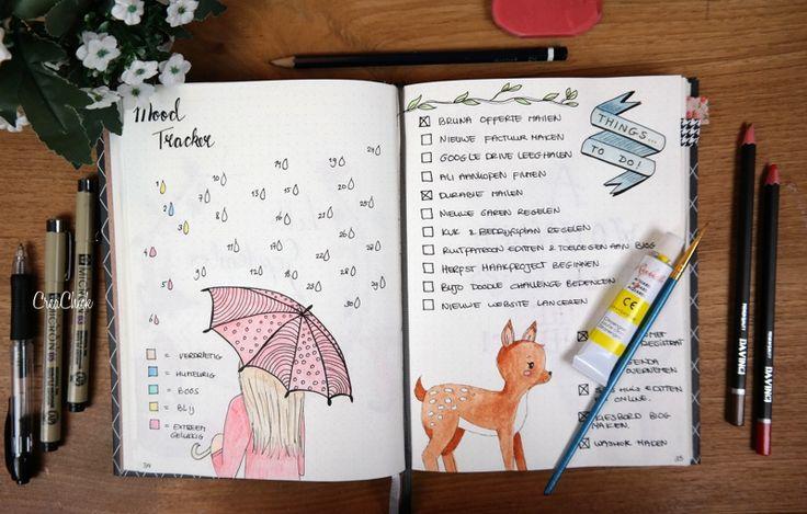 Bullet Journal Mood tracker september. Things to do list. Click link for more inspiration.