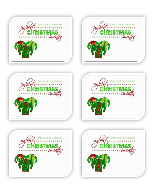 Ugly Sweater Ballots for voting at Ugly Sweater Parties