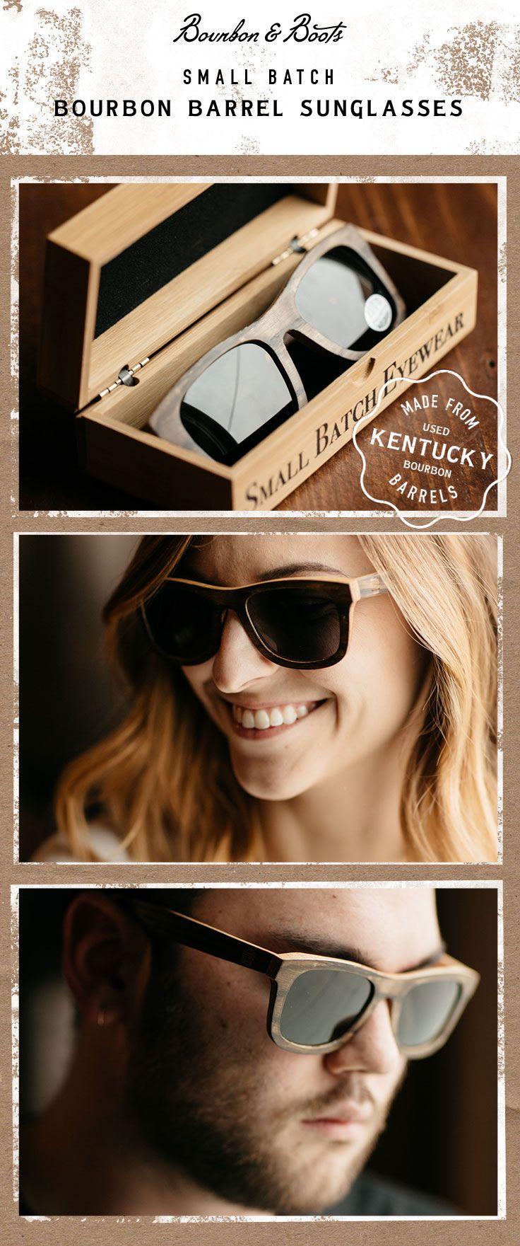 $119.00 The perfect stylish and functional gift for the Bourbon Lover. These unique high quality polarized sunglasses are unlike any other Wooden sunglass on the market. They are made exclusively from used White Oak Kentucky Bourbon Barrels and feature 100% polarized smoke tint lenses and double hinged construction to keep them from slipping off your head. Authenticity Certificate Indicates the Brand of Bourbon. Ships in a Custom Oak Case for Storage & Care