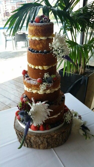Naked Wedding Cake #nakedcake #weddingcake #openvictoria #wildflowers x