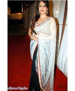 Mahima Chaudhary in Half Black And Half White Saree