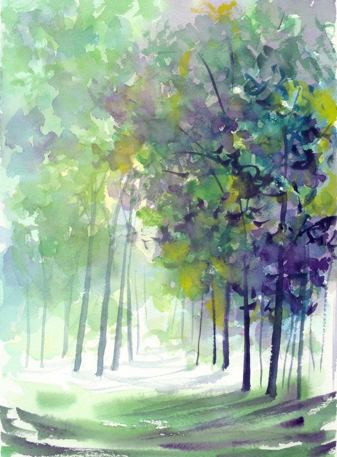 Original Watercolor Forest Trees Landscape Green Path Painting