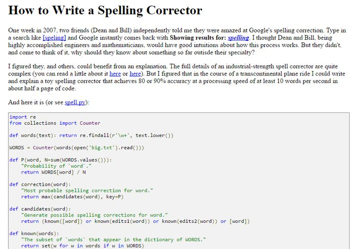 How to #Write a #Spelling Corrector (norvig.com) >> http://stfi.re/yrynkvg #Python #Programming Fun