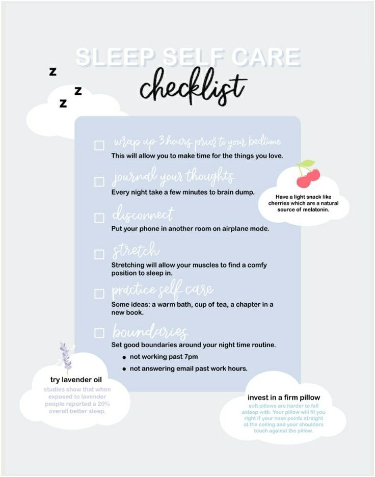 Natalie's Outlet Sleep Self Care Checklist. in 2020