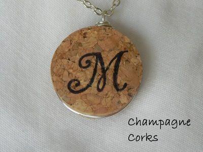 Stamped and Painted Monogram on Champagne Cork pendant at www.KarenStoneStudio.com