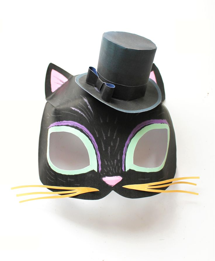 Cat mask and mini top hat printable templates by Happythought! happythought.co.uk/product/easy-printable-animal-masks