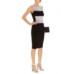 Karen Millen Stripe Bandage Knit Dress Black Multi Kn202 Online Pastels are a key trend for the season - this knitted bandage dress uses colourblocking in key colours and sculpts a slimline silhouette.  Sleeveless knee length colour block stripe bandage knit dress with Karen Millen branded zip.  Details: Fabric: 5% Elastane,86% Viscose,9% Polyester Color: Black multi  Wash care: Do Not Bleach, Do Not Tumble Dry, Do Not Wash, Iron, Steam Or Dry, With Low Heat, Specialist Dryclean