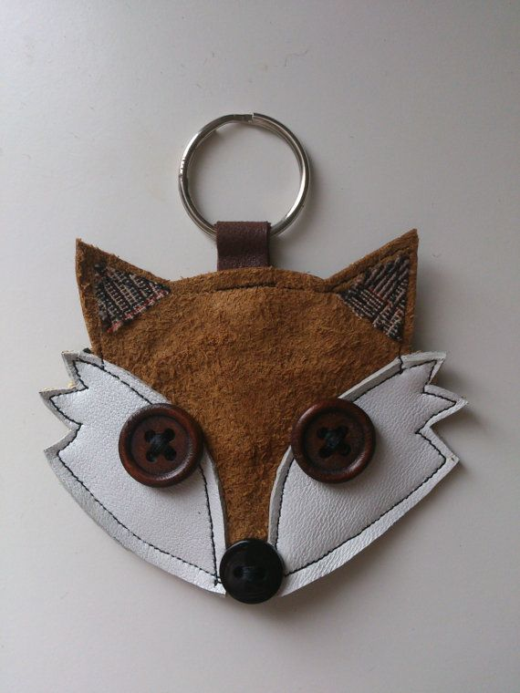 Recycled upcycled vintage tan leather fox applique by mojosewsew, $12.00