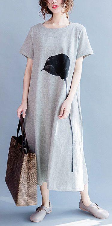 2017 summer cotton dresses caftans the calla Lily print long shirt sundress