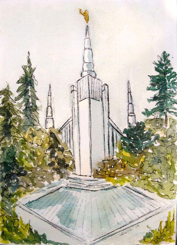 Portland Oregon LDS Temple Watercolor Temple 5x7 by elsa1design