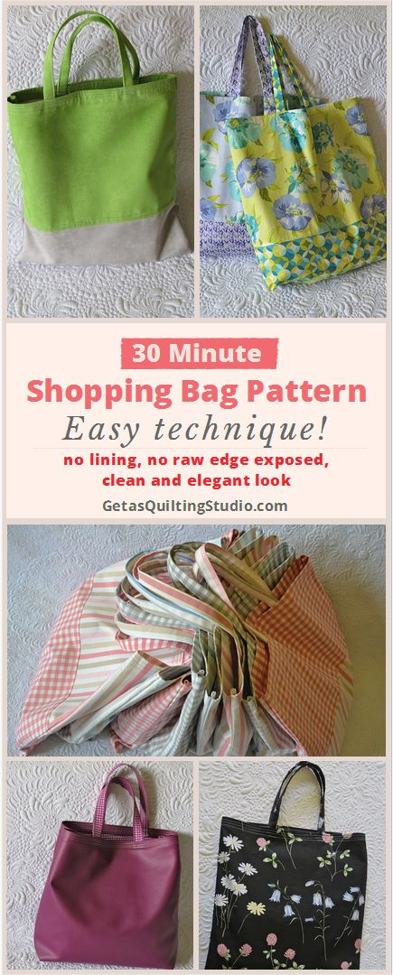Quick shopping bag pattern- learn to sew strong, reusable shopping bags. No lining, no seam allowances exposed, clean and elegant look!  via @getagrama