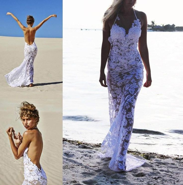 praia pura vestidos de noiva branco lace halter decote sem encosto bainha longa quente vestidos de noiva