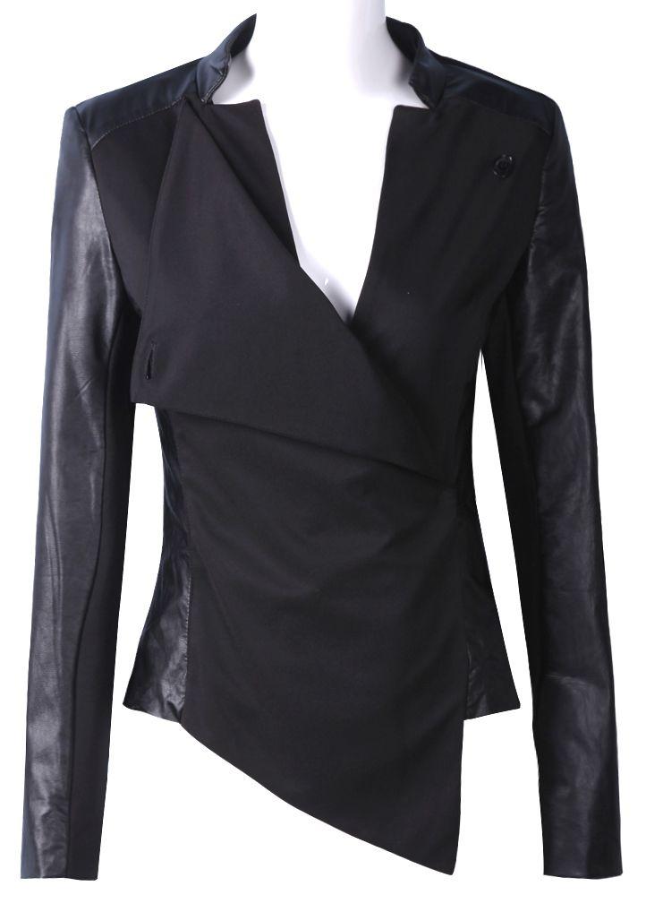 Black Contrast PU Leather Long Sleeve Crop Jacket $69.99 http://www.feeluxury.com Love Celeb Style!