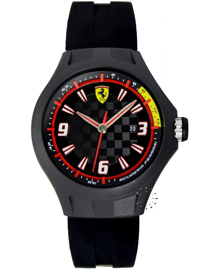FERRARI Pit Crew Black Rubber Strap, 110€ http://www.oroloi.gr/product_info.php?products_id=33355