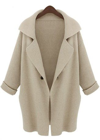 Apricot Lapel Long Sleeve Loose Trench Coat
