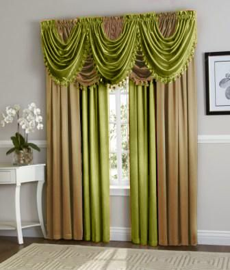 Hyatt Curtain Set (Lime Green/Gold)