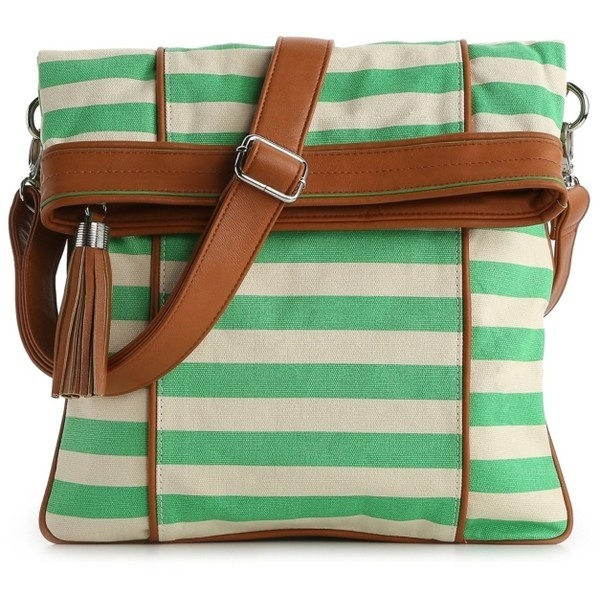 Poppie Jones Canvas Stripe Messenger Shoulder Bag 28