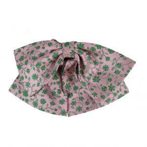 Gotowa muszka damska - różowa w zielone kwiatki