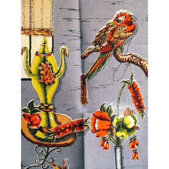 Vintage Tea Towel Interior Scene with Cockatoo by BessieAndMaive