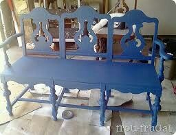 Bench made out of old chairs