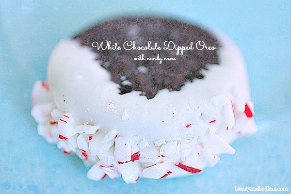 White Chocolate Dipped Oreos with Candy Cane - Simple Holiday Recipe ideas series