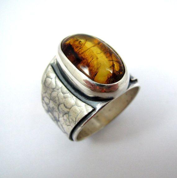 Baltic Honey Amber Sterling Silver Skull Men's Ring djaikzy