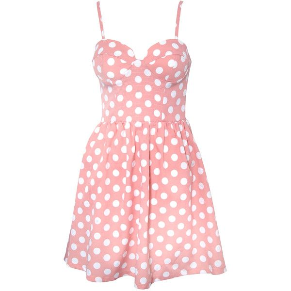 Rare London Spot Bustier Skater Dress ($23) ❤ liked on Polyvore featuring dresses, vestidos, pink, short dresses, skater dress, pink polka dot dress, polka dot dress and mini dress