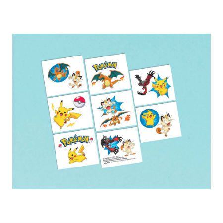 Pokemon Party Supplies: Tattoo's 16 Pk Party Supplies Canada - Open A Party